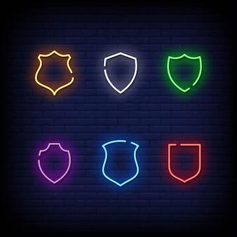 Shield symbol neon signs