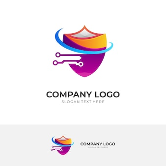 Shield and tech logo design template with 3d colorful style