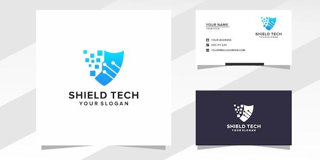 Шаблон логотипа shield tech