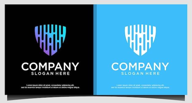Shield technology logo design template