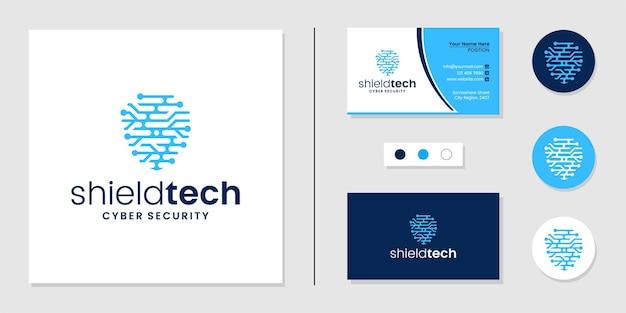 シールド技術のロゴのセキュリティと名刺のデザインテンプレート
