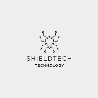 Shield technology logo vector networking protect symbol icon illustration