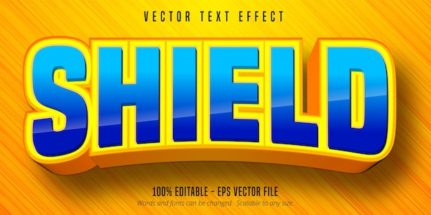 Shield text, cartoon style editable text effect