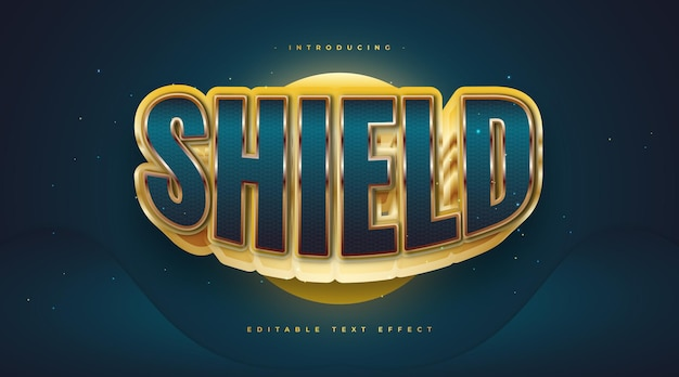 Shield text style in blue and gold with 3d effect. editable text effect