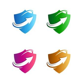 Shield up arrow logo template Premium Vector