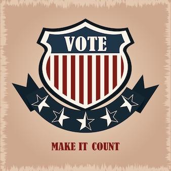 シールド投票フラグアメリカ、政治投票および選挙米国、それを数える図