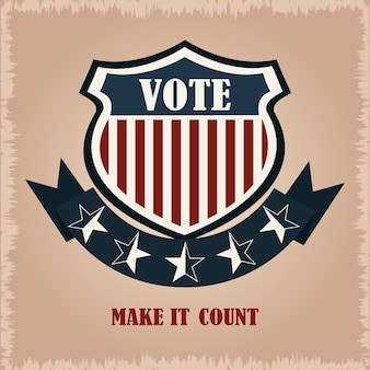 Shield vote flag american, politics voting and elections usa, make it count illustration
