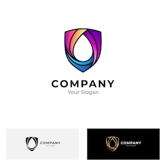 Shield and water drop logo isolated on white