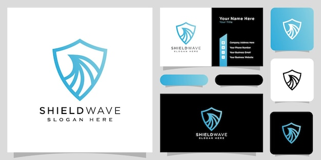 Shield wave logo design vector line style and business card
