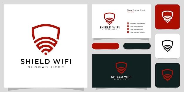 Shield wifi logo design and business card