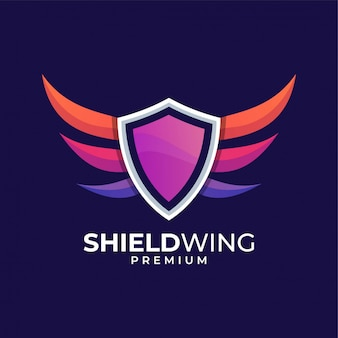 Shield wing colorful logo design