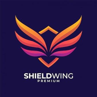 Щит крыла красочный дизайн логотипа