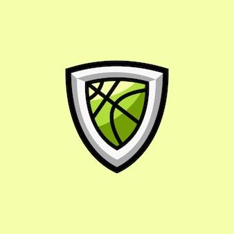 スポーツビジネスのためのバスケットボールのロゴが付いた盾