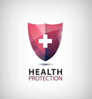 Shield with cross isolated illustration