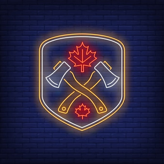 Shield with crossed axes and maple leaf neon sign