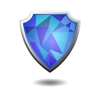 Shield with diamond blue