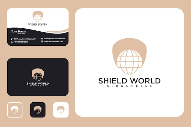Shield with globe logo design and business card