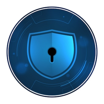 Shield with keyhole on circle symbol security technology.