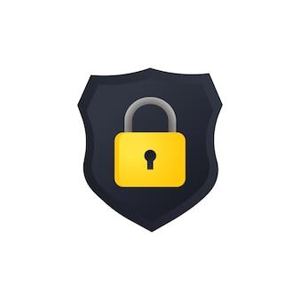 자물쇠 일러스트와 함께 방패. 컴퓨터에 대한 사이버 보안. 개인 정보 보호 데이터. 격리 된 흰색 배경에 벡터입니다. eps 10.