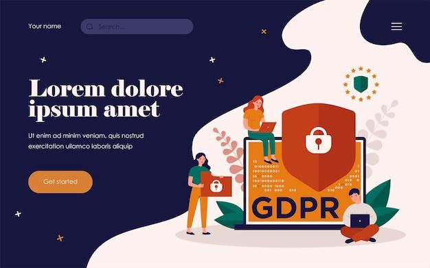 一般データ保護規則のシンボルとしてのコンピューターディスプレイのロック付きシールド。ガジェットを使用している間、人々は自分のプライバシーを確信しています。 gdpr、情報保護の概念のベクトル図