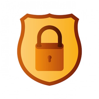 Shield with padlock isolated icons