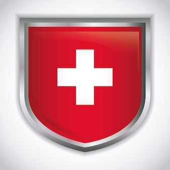 스위스 국기 아이콘으로 방패