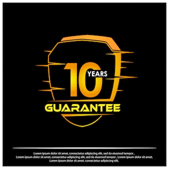 Shield with text guarantee ten years icon