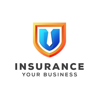 Shield with tie insurance business logo design   template