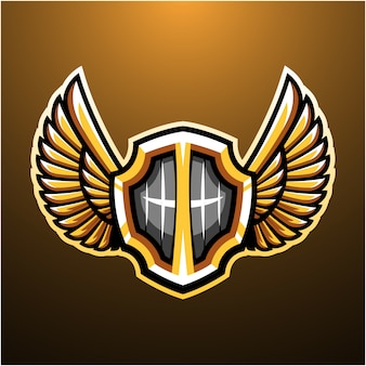 Shield with wings mascot logo