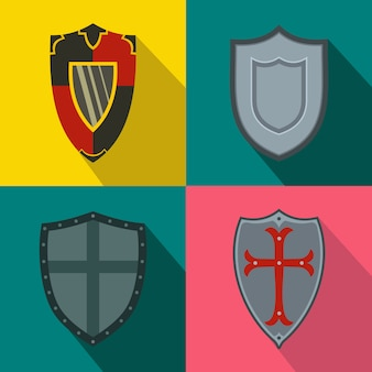 Shields banners set in flat style for any design