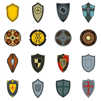 Shields icons set in flat style