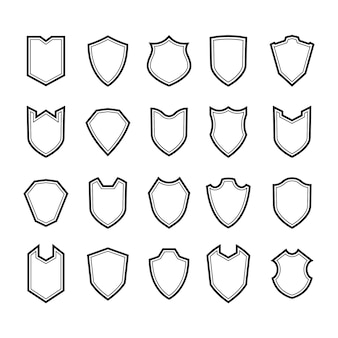 Shields outline icon set