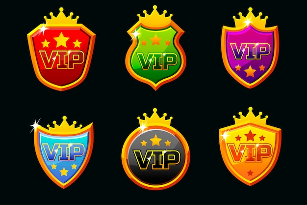 Shields with vip lettering set