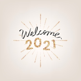 Shimmering golden welcome 2021, new year greeting card