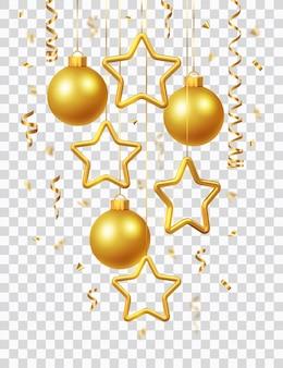 Мерцающие свисающие золотые звезды и шары с конфетти