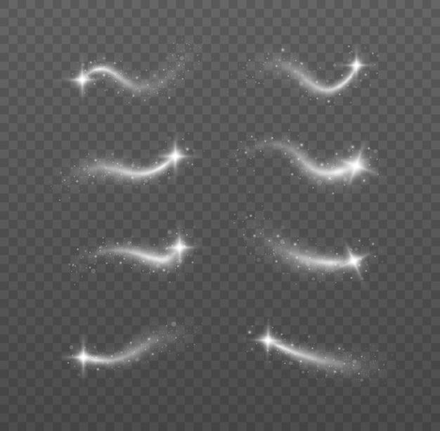 반짝이 벡터 세트와 함께 반짝이 은색 파도. 빛나는 반짝이 반짝임.
