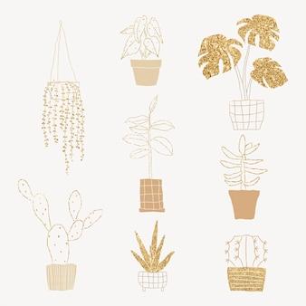 Набор векторных мерцающих золотых комнатных растений