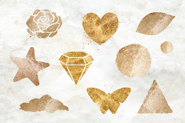 Shimmery gold icon set
