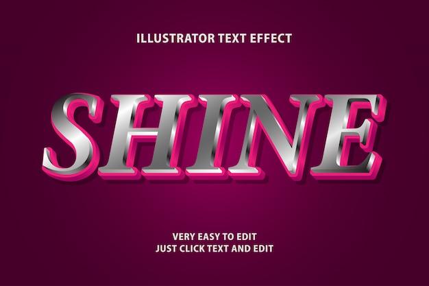 Shine 3d with red text effect, editable text