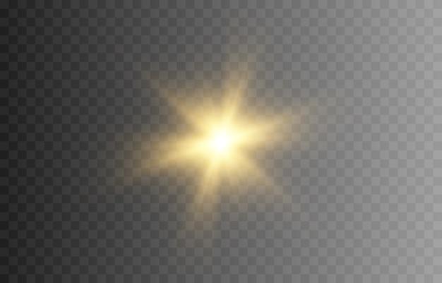 輝く。金色の閃光。太陽の光。ゴールドスター、輝き。太陽、夜明け。ライトpng。