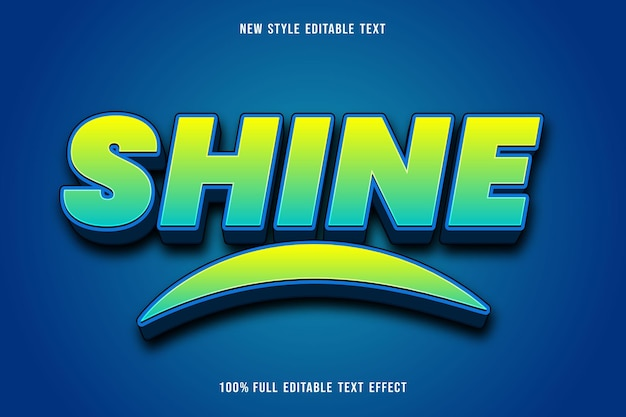 Shine editable text effect color blue and green