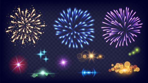 花火を輝かせます。輝きのスプラッシュ、リアルな火のお祝いライト。新年の夜の輝き要素ベクトルセット。スプラッシュライトグロー、スパークル、爆発のイラスト