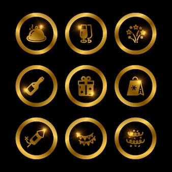 Shine gold festive icons of collection