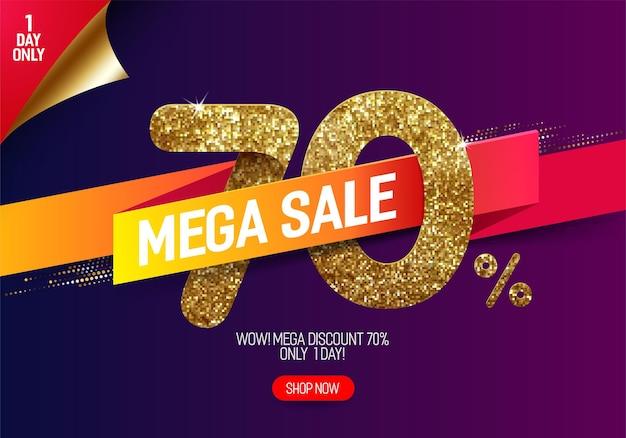 Сияющая золотая распродажа 70 с яркой бумажной лентой из маленьких золотых блестящих квадратов в пиксельном стиле