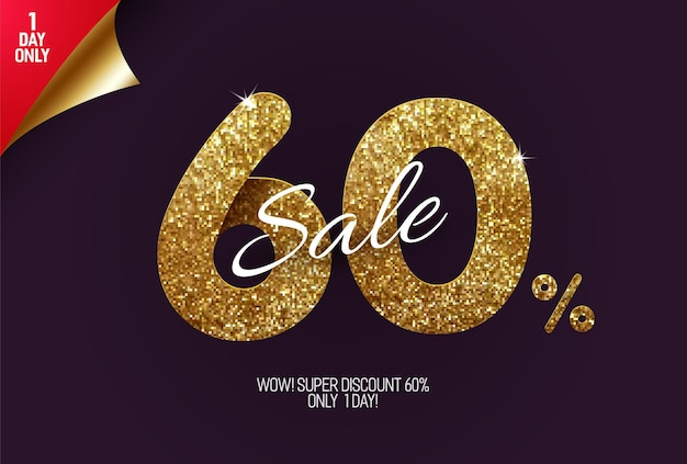 Shine golden sale, made from small gold glitter squares, pixel style.