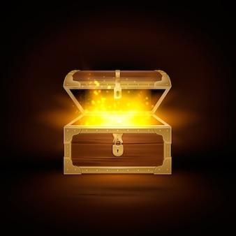 열린 뚜껑과 황금 입자가있는 보물 금고의 오래된 나무 가슴 현실적인 구성으로 빛납니다.
