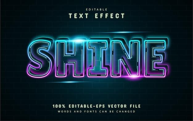 Shine neon line text effect