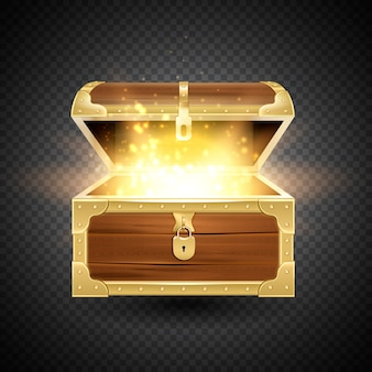 Shine in old wooden chest realistic composition on transparent background with vintage coffer and sparkling particles