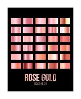 Набор текстур градиента фольги блеска розового золота изолирован на черном