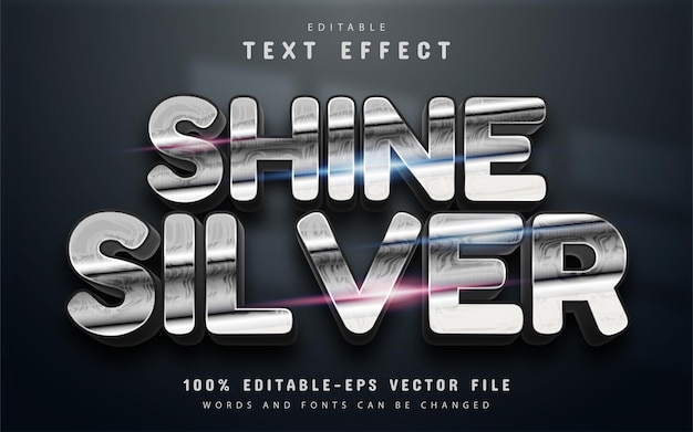 Shine silver text effect